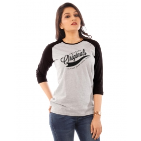 Originals Jet Black-grey Raglan 3/4th Sleeve T Shirt