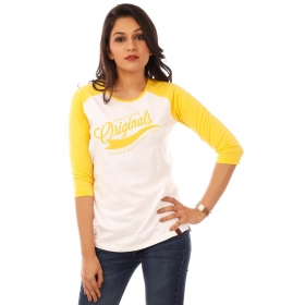 Originals Golden Yellow Melange-brilliant White Raglan 3/4th Sleeve T Shirt