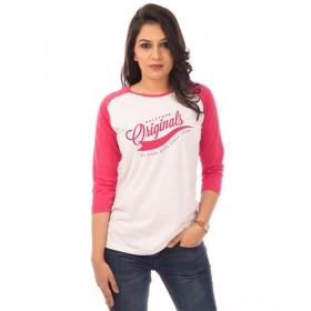 Originals Pink Melange-brilliant White Raglan 3/4th Sleeve T Shirt
