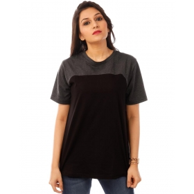 Charcoal Melange-jet Black Curvy Panel T Shirt Half Sleeve T Shirt