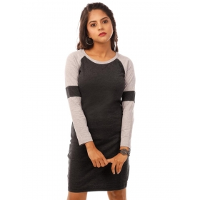 Light Grey Melange-charcoal Melange Full Sleeve T Shirt Dress