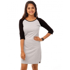 Jet Black-light Grey Melange 3/4th Sleeve T Shirt Dress