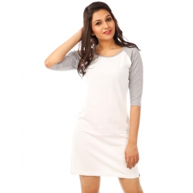 Light Grey Melange-brilliant White 3/4th Sleeve T Shirt Dress