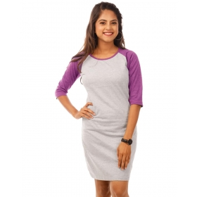 Purple-light Grey Melange 3/4th Sleeve T Shirt Dress