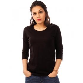 Jet Black Plain 3/4th Sleeve T Shirt