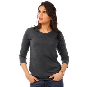 Charcoal Melange Plain 3/4th Sleeve T Shirt
