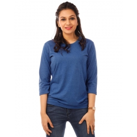 Royal Blue Melange Plain 3/4th Sleeve T Shirt