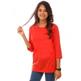 Deep Orange Melange Plain 3/4th Sleeve T Shirt