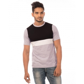 Jet Black-brilliant White-light Grey Melange Trendy Basics Half Sleeve T Shirt