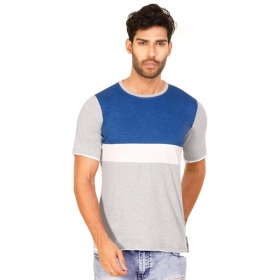 Royal Blue Melange-brilliant White-light Grey Melange Trendy Basics Half Sleeve T Shirt
