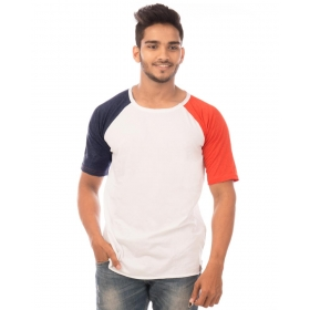 Navy Blue Melange-deep Orange Melange Trendy Basics Half Sleeve T Shirt