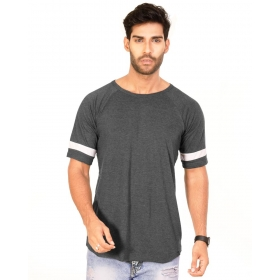 Charcoal Melange Trendy Basics Half Sleeve T Shirt