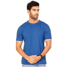 Royal Blue Melange Trendy Basics Half Sleeve T Shirt