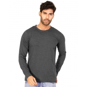 Charcoal Melange Plain T Shirts Full Sleeve T Shirt