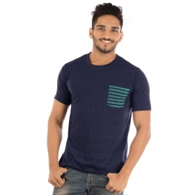 Navy Blue Melange Pocket Half Sleeve T Shirt