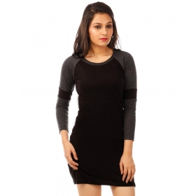 Charcoal Melange-jet Black Full Sleeve T Shirt Dress