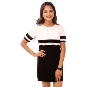 Brilliant White-jet Black Miami Trim Half Sleeve T Shirt Dress