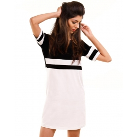 Jet Black-brilliant White Miami Trim Half Sleeve T Shirt Dress