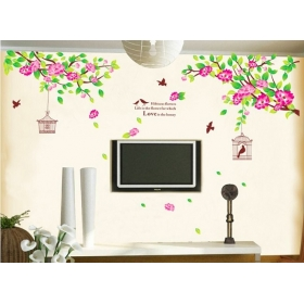 Ay1916 Pink Tree Nature Wall Sticker  Jaamso Royals