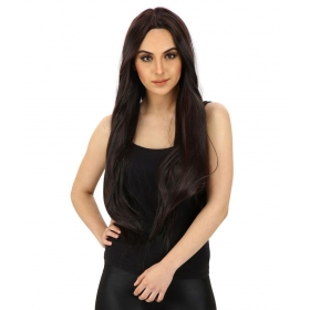 Double Tone Highlighted Synthetic Full Hair Wig Black Burgundy