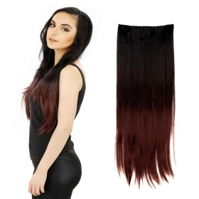 Highlighted Bottom Straight Synthetic Hair Extension Black Burgundy 24 In
