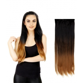 Highlighted Bottom Straight Synthetic Hair Extension Black Gold 24 In