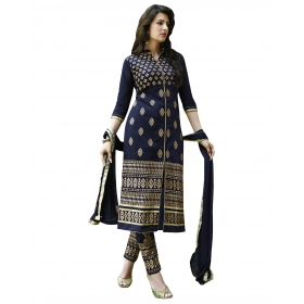 Blue Embroidery Straight Dress Material