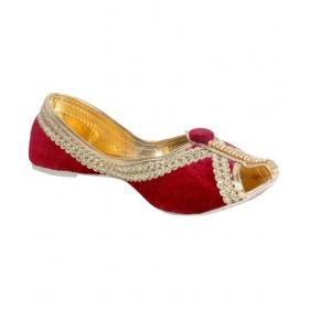 Red Flat Ethnic Footwear