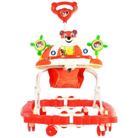 Red Plastic Baby Walker Cum Rocker