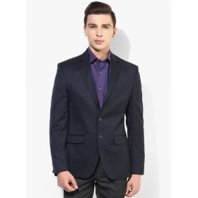 Navy Blue Solid Jacket & Blazer