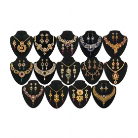Multicolor Alloy Necklace Set - Pack Of 14