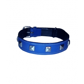 High Quality Leather Dog Collar With Studs Blue - 1.50 Inch