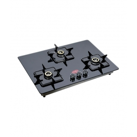 Pigeon Auto Ignition Hob Top 3 Brass Burner Gas Stove - Black