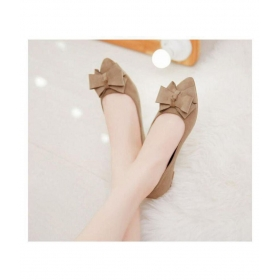 Beige Ballerinas With Bow