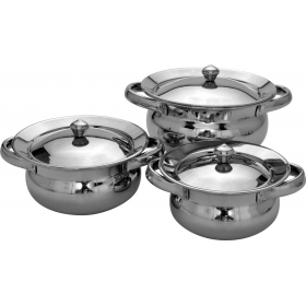 3 Pc Punjabi Handi Set - Mirror Finish