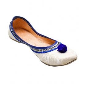 White & Blue Punjabi Jutti