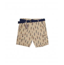 Casual Printed Cotton Shorts For Mens ( Light Brown )