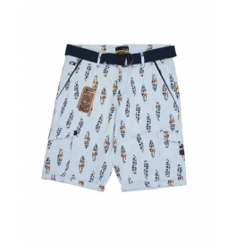 Casual Printed Cotton Shorts For Mens ( Light Blue )