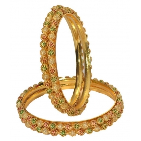 Gold Plating Studded Gold Coloured Bangle
