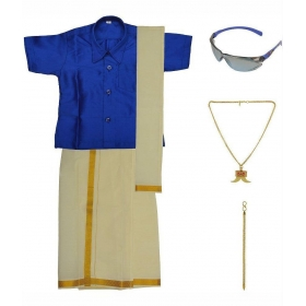 Blue Dhoti Kurta Set With Chain,pendant,sunglasses