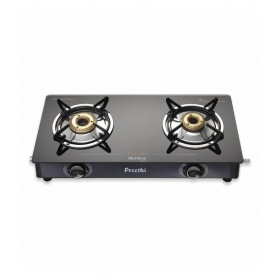 Preethi Blu Flame Smart Glass Top 2-burner Gas Stove, Black