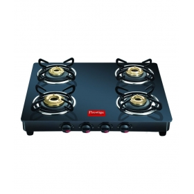 Prestige Gtm04 Black 4 Burner Glass Manual Gas Stove