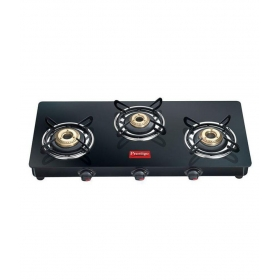 Prestige Marvel Plus Gtm03 Black 3 Burner Glass Manual Gas Stove
