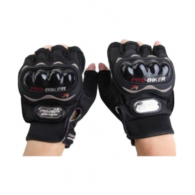 Biker Half Cut Finger Bicycle Gloves - Black