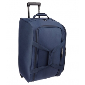 Blue Solid Duffle Bag With Trolley