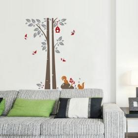 Ay848 Squirrel Under Tree Nature Wall Sticker  Jaamso Royals