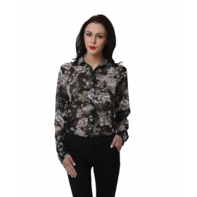 Black Polyester Full Sleeves Shirts