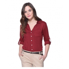 Stylish Red Rayon Shirt For Women