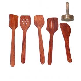 Desi Karigar Wooden Sheesham Ladel Set Of 5 + 1 Masher