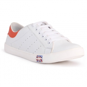 Blinder Men's White Orange Casual Sneakers Shoes